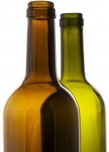 2 glass wine bottles