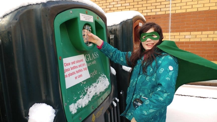 Local Girl Turns Superhero to Scoop Top Glass Recycling Prize