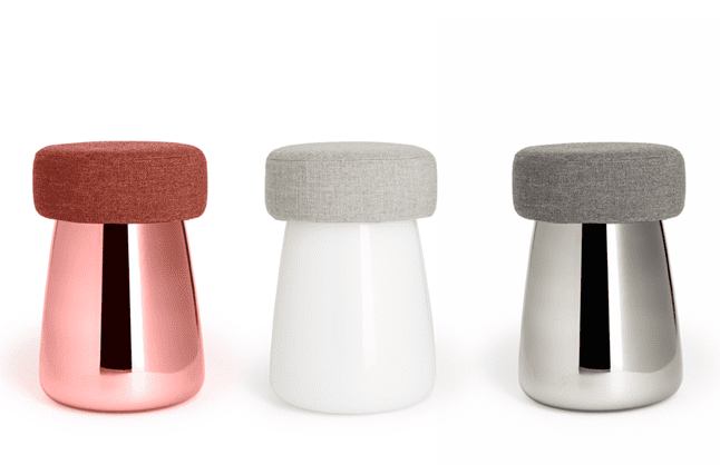 The first upholstered glass stool