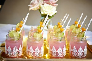 Recreate the look: lace jars for wedding drinks