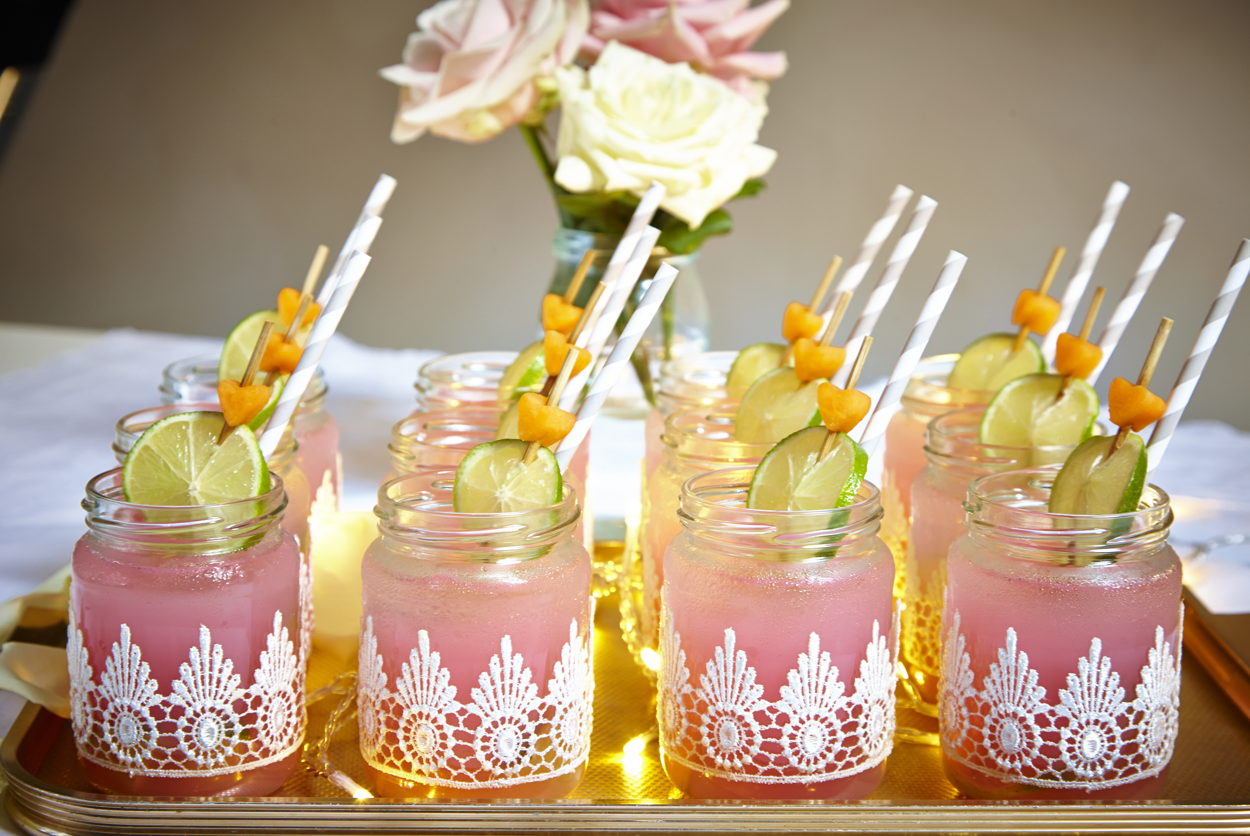recreate the look lace jars for wedding drinks friends
